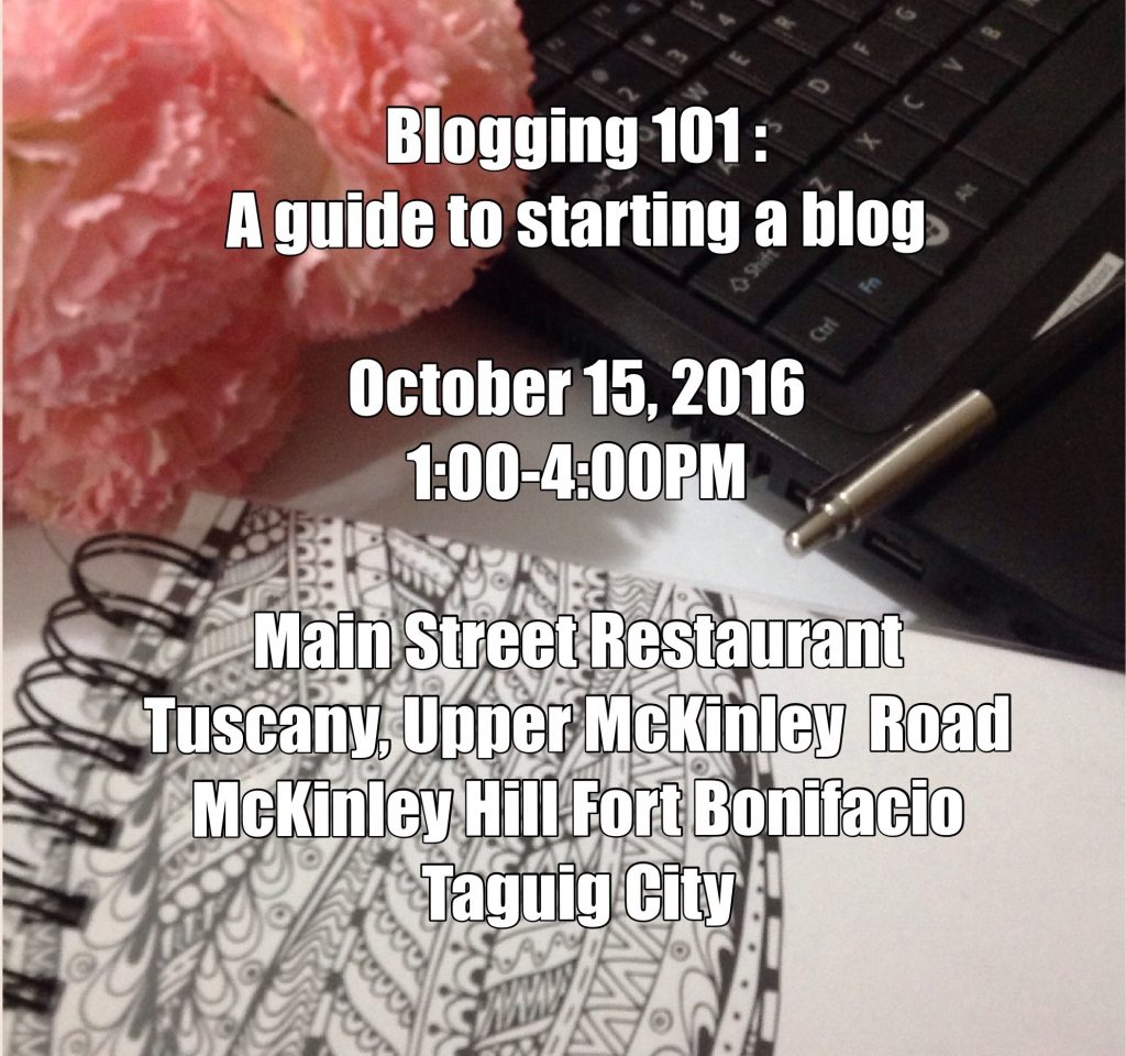SAVE THE DATE! Blogging 101: A guide to starting a blog